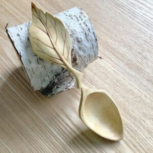 156. Woodbee Carving Hand Carved Wooden Spoon