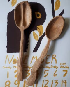 167. 1 Cherry Chung Hand Carved Wooden Spoon