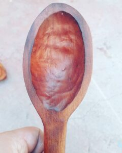 190. 2 Pablo Iglesias Hand Carved Wooden Spoon