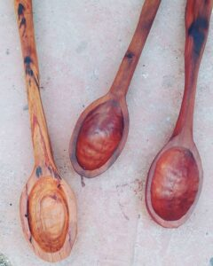 190. 4 Pablo Iglesias Hand Carved Wooden Spoon