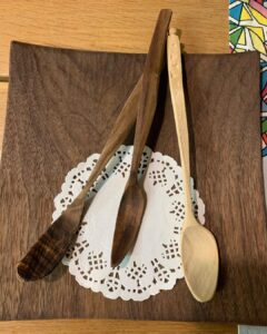 57. 6 Swords Person Hand Carved Wooden Spoon