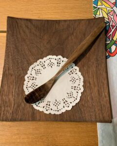 57. 9 Swords Person Hand Carved Wooden Spoon